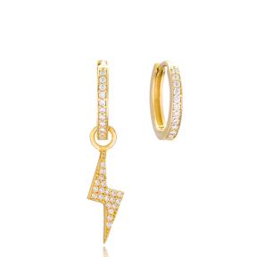 Lightning Design Earrings Handmade 925 Sterling Silver Jewelry