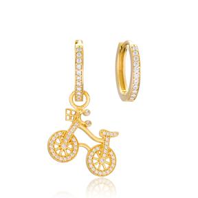 Bicycle Design Earrings Handmade 925 Sterling Silver Jewelry