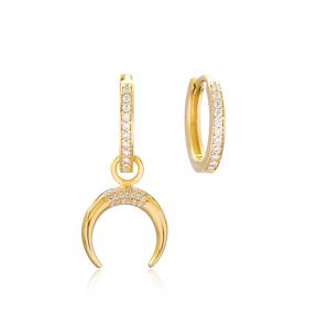 Horn Shape Design Earrings Handmade 925 Sterling Silver Jewelry