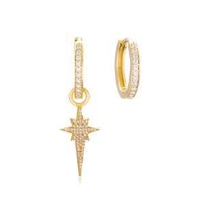 North Star Shape Design Earrings Handmade 925 Sterling Silver Jewelry