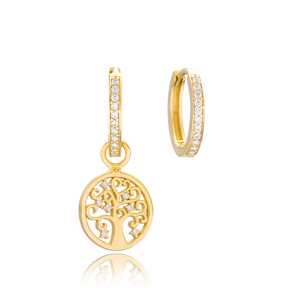 Tree of Life Design Earrings Wholesale Handmade 925 Sterling Silver Jewelry