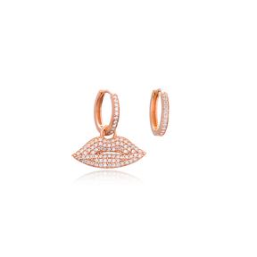 Zircon Lips Shape Earrings Turkish 925 Sterling Silver Wholesale Jewelry