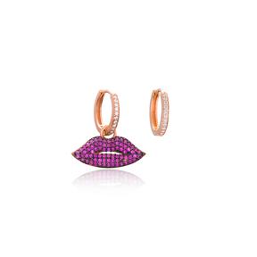 Ruby Lips Earrings New Arrivals Turkish Wholesale 925 Sterling Silver Jewelry