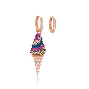 Rainbow Ice Cream Design Fashion Jewelry Wholesale 925 Sterling Silver Earrings