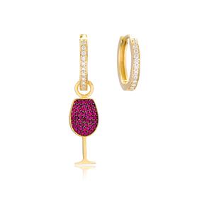 Wine Glass Earrings Wholesale Handmade Turkish 925 Silver Sterling Jewelry