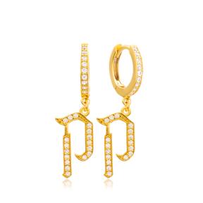 Kuf Letter Hebrew Alphabet Wholesale Handmade 925 Sterling Silver Dangle Earrings