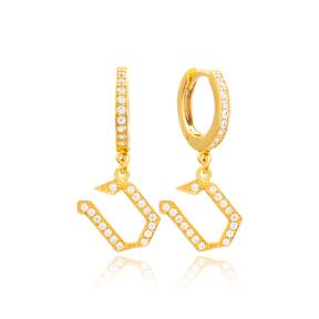 Tet Letter Hebrew Alphabet Wholesale Handmade 925 Sterling Silver Dangle Earrings