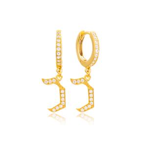 Khaf Letter Hebrew Alphabet Wholesale Handmade 925 Sterling Silver Dangle Earrings