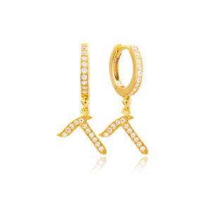 Dalet Letter Hebrew Alphabet Wholesale Handmade 925 Sterling Silver Dangle Earrings