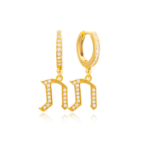 Sav Letter Hebrew Alphabet Wholesale Handmade 925 Sterling Silver Dangle Earrings