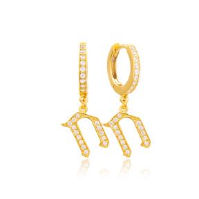 Chet Letter Hebrew Alphabet Wholesale Handmade 925 Sterling Silver Dangle Earrings
