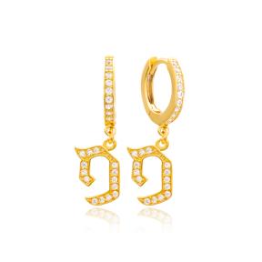 Fay Letter Hebrew Alphabet Wholesale Handmade 925 Sterling Silver Dangle Earrings
