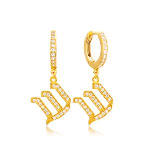 Shin Letter Hebrew Alphabet Wholesale Handmade 925 Sterling Silver Dangle Earrings