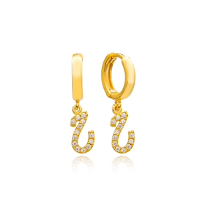 He Letter Arabic Alphabet Wholesale Handmade 925 Sterling Silver Dangle Earrings