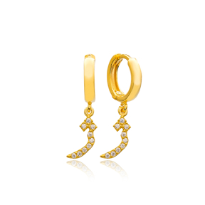 Ze Letter Arabic Alphabet Wholesale Handmade 925 Sterling Silver Dangle Earrings