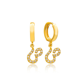 Saad Letter Arabic Alphabet Wholesale Handmade 925 Sterling Silver Dangle Earrings