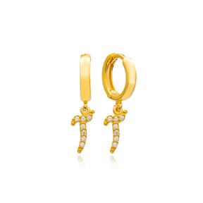 Alif Letter Arabic Alphabet Wholesale Handmade 925 Sterling Silver Dangle Earrings