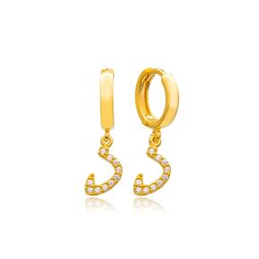 Daal Letter Arabic Alphabet Wholesale Handmade 925 Sterling Silver Dangle Earrings