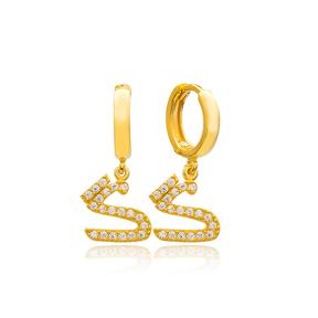 Ghaf Letter Arabic Alphabet Wholesale Handmade 925 Sterling Silver Dangle Earrings