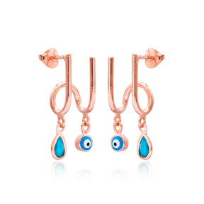 Turkish Evil Eye and Drop Design Two in One Earrings 925 Sterling Silver Jewelry