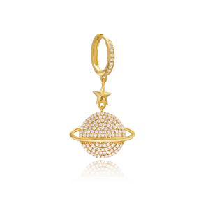 CZ Planet Design Earrings Wholesale Turkish Handmade 925 Sterling Silver Jewelry