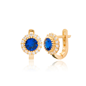 Round Shape Sapphire Stone For Kid Earrings Turkish Wholesale Handmade 925 Sterling Silver Jewelry
