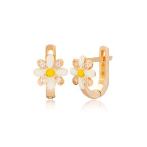 Daisy Design Zircon Stone For Kid Earrings Turkish Wholesale Handmade 925 Sterling Silver Jewelry