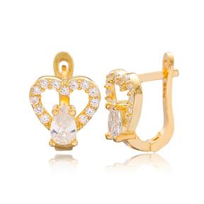Zircon Stone Heart Design Turkish Handmade Wholesale 925 Sterling Silver Jewelry