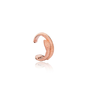Snake Design Cartilage Earring Turkish Wholesale Handcrafted 925 Sterling Silver Jewelry