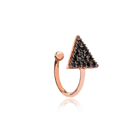 Triangle Design Black Zircon Cartilage Earring Handcrafted Wholesale Turkish 925 Silver Sterling Jewelry