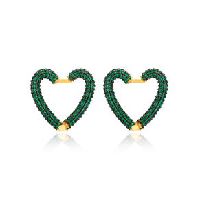 Emerald New Trend Heart Earrings Wholesale Turkish Handmade 925 Sterling Silver Jewelry