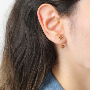 Star Shape Orange Zircon Stone Stud Earring Handcrafted Wholesale Turkish 925 Silver Sterling Jewelry