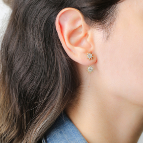 Star Design Zircon Stone Stud Earring Handcrafted Wholesale Turkish 925 Silver Sterling Jewelry