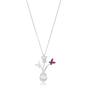 Delicate Butterfly Pendant Turkish Wholesale Handcrafted 925 Silver Jewelry
