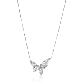 Baguette Butterfly Pendant Turkish Wholesale Handcrafted 925 Silver Jewelry