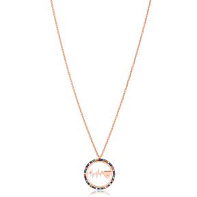 Rainbow Heartbeat Pendant Turkish Wholesale 925 Sterling Silver Jewelry