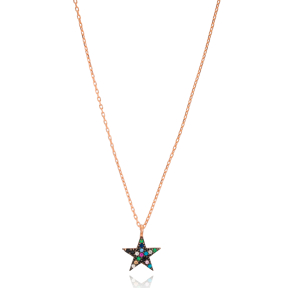 Colorful Star Pendant Turkish Wholesale 925 Sterling Silver Jewelry