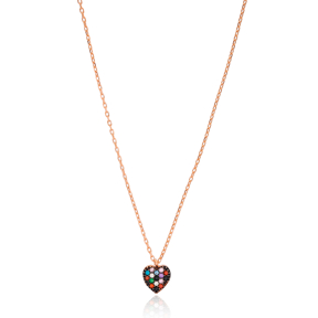 Colorful Heart Pendant Turkish Wholesale 925 Sterling Silver Jewelry