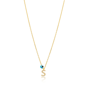 Alphabet Letter S Charm Necklace Wholesale 925 Sterling Silver Jewelry