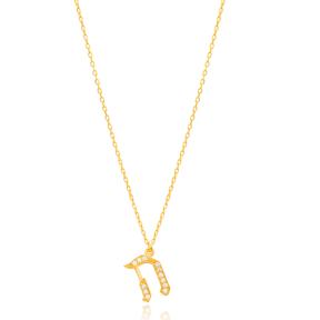 Hay Letter Hebrew Alphabet Design Wholesale Handmade 925 Silver Sterling Necklace