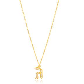 Gimel Letter Hebrew Alphabet Design Wholesale Handmade 925 Silver Sterling Necklace