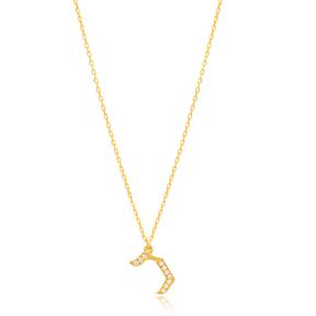 Khaf Letter Hebrew Alphabet Design Wholesale Handmade 925 Silver Sterling Necklace