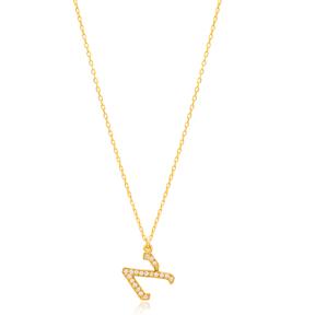Aleph Letter Hebrew Alphabet Design Wholesale Handmade 925 Silver Sterling Necklace