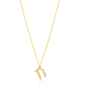 Chet Letter Hebrew Alphabet Design Wholesale Handmade 925 Silver Sterling Necklace