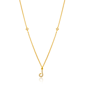 Laam Letter Arabic Alphabet Design Wholesale Handmade 925 Silver Sterling Necklace