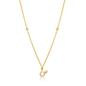 Siin Letter Arabic Alphabet Design Wholesale Handmade 925 Silver Sterling Necklace