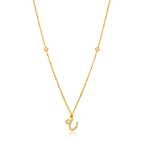 Ayn Letter Arabic Alphabet Design Wholesale Handmade 925 Silver Sterling Necklace