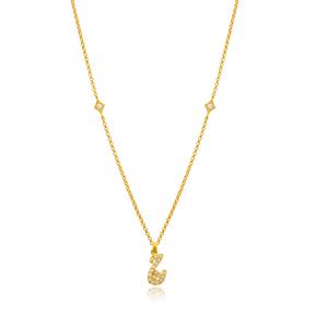 Che Letter Arabic Alphabet Design Wholesale Handmade 925 Silver Sterling Necklace