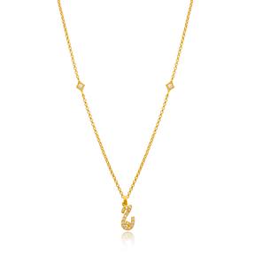 Jim Letter Arabic Alphabet Design Wholesale Handmade 925 Silver Sterling Necklace