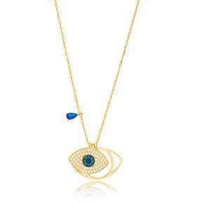 Evil Eye Design Sapphire Stone Elegant 925 Sterling Silver Jewelry